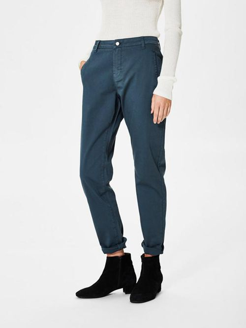 Damen Chinos Kaufen - Selected Femme - Regular Fit Chino - Blau